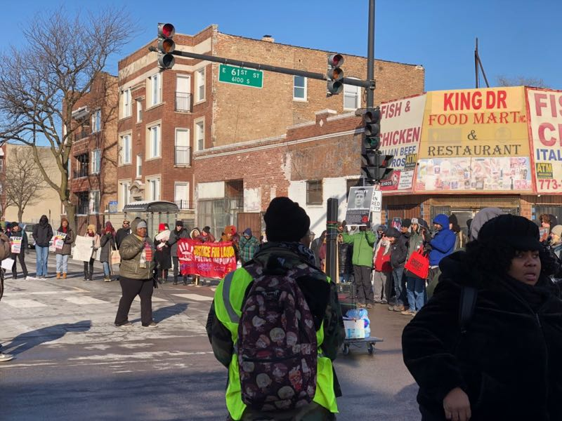 Black Lives Matter Chicago Justice for Laquan McDonald MLK Day 2019 rally after marching down King Drive. His legacy lives on.