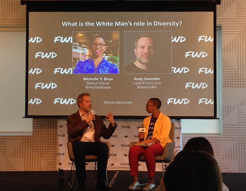 Andy Swindler and Michelle Bess speak at FWD (For Women & Diversity) Collective Summit about the white man's role in diversity.